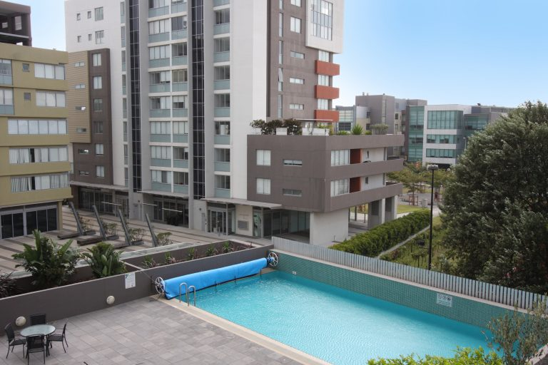 two bedroom apartment view of pool